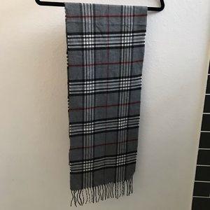 Gray red white plaid scarf